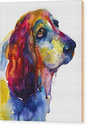 Brilliant Basset Hound Watercolor Painting Wood Print