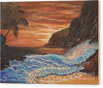 Brilliant Hawaiian Sunset 1 Wood Print by Jenny Lee