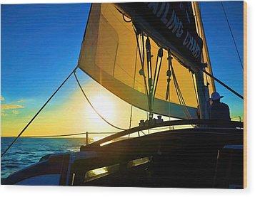 Brilliant Sunset Sail Wood Print by Pamela Blizzard
