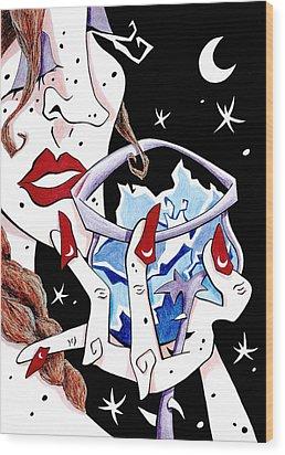Brindis - Cata De Vino - Mujer - Arte Y Seduccion Wood Print by Arte Venezia