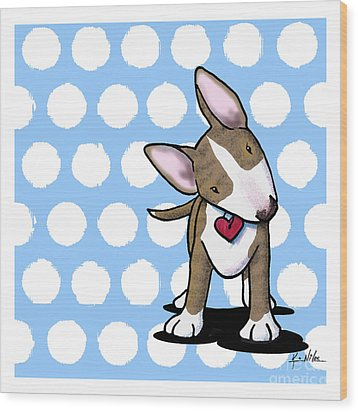 Brindle Bully On Dotted Blue Wood Print by Kim Niles