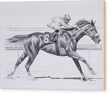 Bring On The Race Zenyatta Wood Print by Joette Snyder