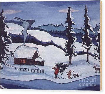 Wood Print featuring the painting Bringing Home The Tree by Joyce Gebauer