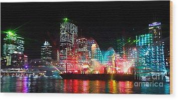 Brisbane City Of Lights Wood Print by Peta Thames