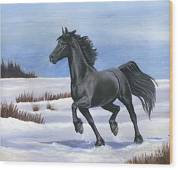 Wood Print featuring the painting Brisk Trot by Sheri Gordon