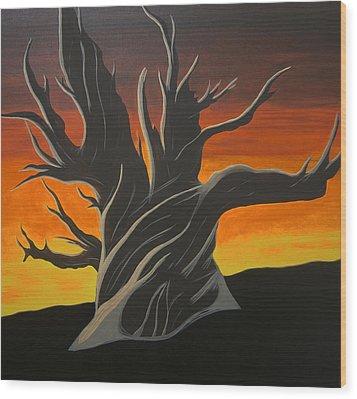 Bristle Cone Pine At Dusk Wood Print by Drew Shourd