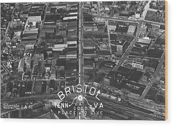 Bristol Virginia Tennessee Early Aerial Photo Wood Print