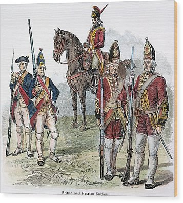 British & Hessian Soldiers Wood Print by Granger