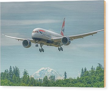 Wood Print featuring the photograph British Airways 787 by Jeff Cook