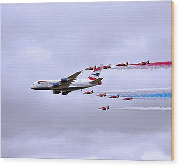 British Airways A380-841 Wood Print by Paul Scoullar