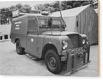 British Army Armoured Land Rover At Grey Point Fort Helens Bay County Down Northern Ireland Wood Print by Joe Fox