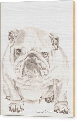 British Bulldog Winnie Wood Print