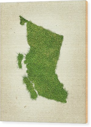 British Columbia Grass Map Wood Print by Aged Pixel