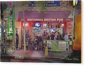 British Pub Wood Print