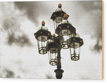British Street Lamp Against Cloudy Sky Wood Print