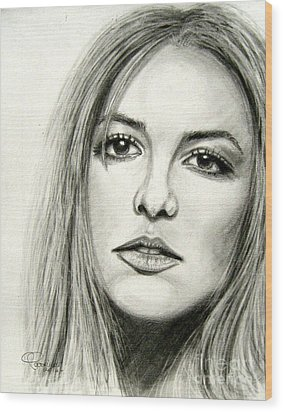 Wood Print featuring the drawing Britney Spears by Patrice Torrillo