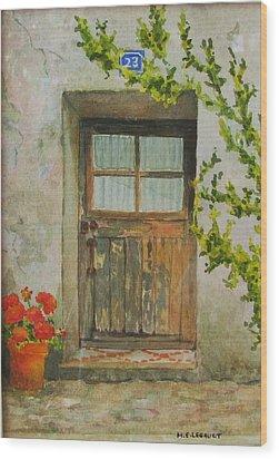Brittany  Door Wood Print by Mary Ellen Mueller Legault