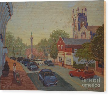 Broad St Westfield  Wood Print by Monica Caballero