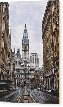 Broad Street Philadelphia Wood Print by Bill Cannon
