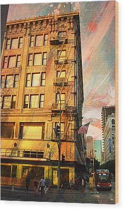 Broadway And Ninth Facing West Wood Print by John Fish