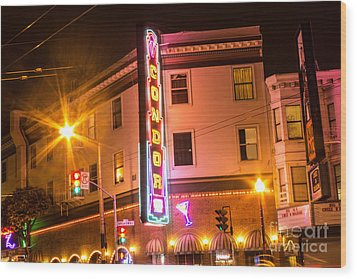 Broadway At Night Wood Print by Suzanne Luft