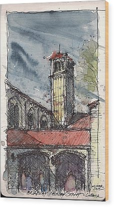 Wood Print featuring the mixed media Broadway Church Of Christ Study by Tim Oliver