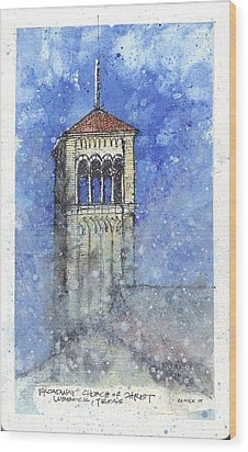 Broadway Church Tower Wood Print by Tim Oliver