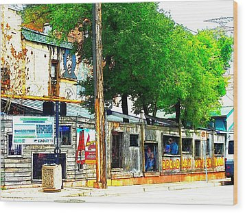 Broadway Oyster Bar With A Boost Wood Print by Kelly Awad