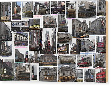 Broadway Theatre Collage Wood Print