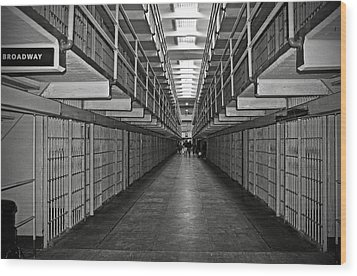 Broadway Walkway In Alcatraz Prison Wood Print by RicardMN Photography