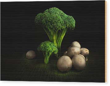 Broccoli Crowns And Mushrooms Wood Print