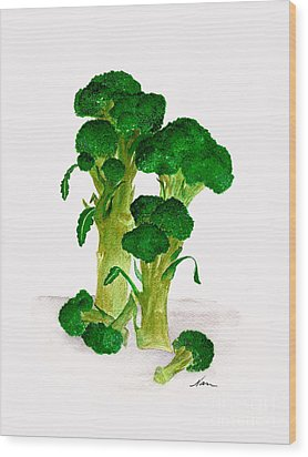 Broccoli Stalks Bright And Green Fresh From The Garden Wood Print by Nan Wright
