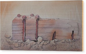 Wood Print featuring the painting Broken Dock Seward Alaska by Richard Faulkner