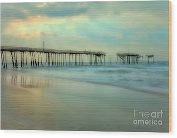 Broken Dreams - Frisco Pier Outer Banks II Wood Print by Dan Carmichael