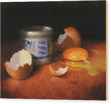 Broken Egg And Ceramic Wood Print by Timothy Jones