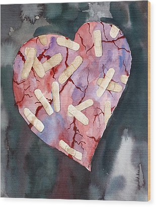Broken Heart Wood Print