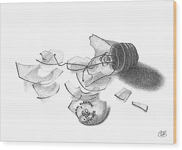 Broken Light Bulb Sketch Wood Print by Conor O'Brien