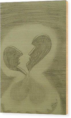 Wood Print featuring the drawing Broken by Thomasina Durkay