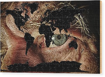 Broken World Puzzle Wood Print