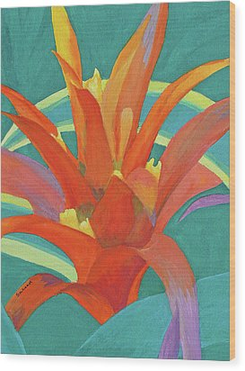 Wood Print featuring the painting Bromeliad Glow by Margaret Saheed