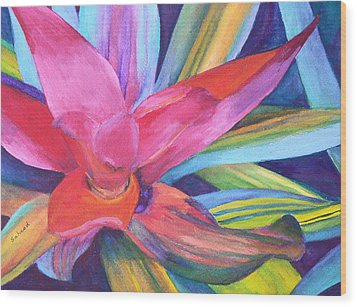Wood Print featuring the painting Bromeliad Pink by Margaret Saheed