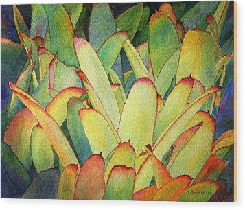 Wood Print featuring the painting Bromeliads I by Roger Rockefeller