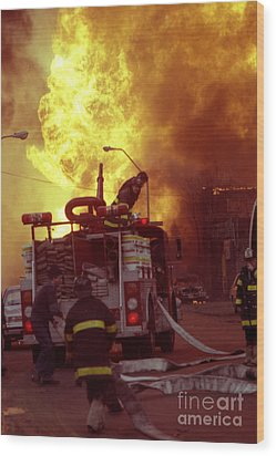 Wood Print featuring the photograph Bronx Gas Explosion-1 by Steven Spak