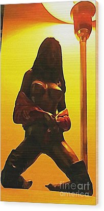 Bronze Cast Of Stripper With Lamp Pole  Wood Print by John Malone