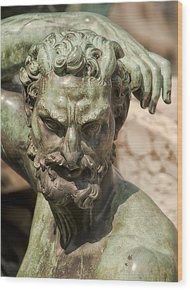 Bronze Satyr In The Fountain Of Neptune Of Florence Wood Print by Melany Sarafis