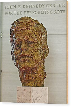 Bronze Sculpture Of President Kennedy In The Kennedy Center In Washington D C  Wood Print by Ruth Hager