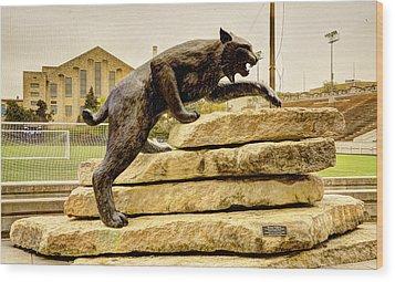 Kansas State Bronze Wildcat Wood Print