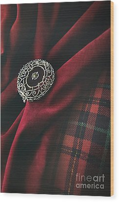 Wood Print featuring the photograph Brooch With Red Velvet And Green Plaid by Sandra Cunningham