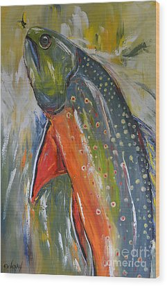 Brook Trout Wood Print by Cher Devereaux