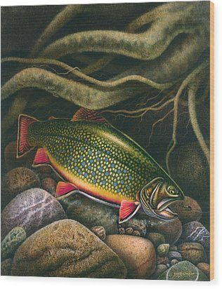 Brook Trout Lair Wood Print by JQ Licensing